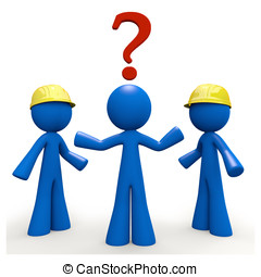 3d Blue Man with Question Mark, Contractor Decision - Which...