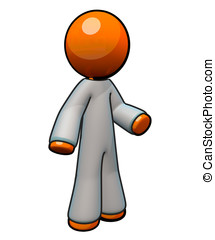 3d Orange Man Wearing Coveralls - Coveralls for medical /...
