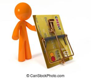Orange Man Illustrating Credit Danger Via Credit Mouse Trap