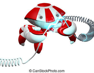 Scutter Crab Robot Repairing Power Cable on White