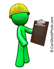 Green man contractor with hard hat holding clipboard.