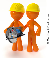 3d Orange Man and Woman with Circular Saw Plus Hard Hats -...