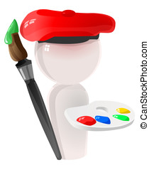 Artist Icon Sculpture with Paint Brush and Paints - An...