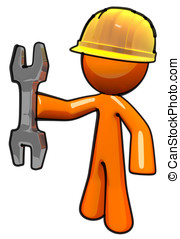 3d Orange Maintenance Man with Wrench and Hard Hat