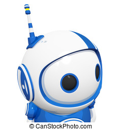 3d Cute Blue Robot Looking Right and Being
