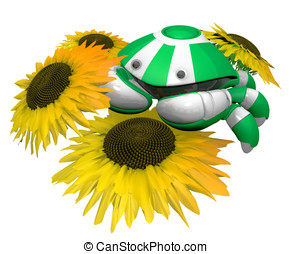 Little Crab Robot with Sunflowers