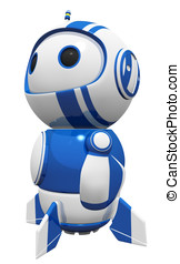 3d Cute Blue Robot Hero Stance Gazing in Wonder - 3d cute...