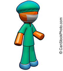 3d Orange Man Doctor Surgeon Wearing Scrubs - Scrubs, face...