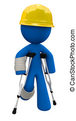 Concept in workplace safety 3d Man is wearing a yellow hard...