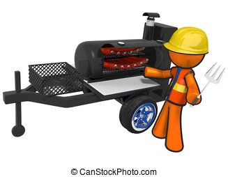 Contractor with BBQ Smoker Mobile Grill - A contractor with...