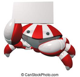 Cute Robotics Mascot Holding Business Card