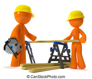 Husband Wife Contractors with Hard Hats - Husband and wife...
