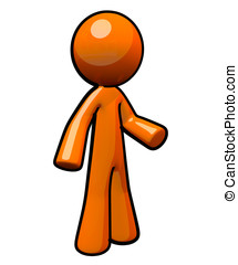 3d Orange Man, Standing - A cute bright little orange man,...