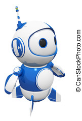 3d Cute Blue Robot Posed and Ready - 3d cute blue robot...