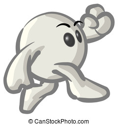Clipart Illustration of a White Konkeey Character Running