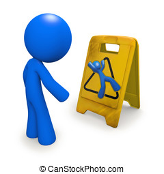 Safety Concept, Man Looking at Danger Sign - 3d man looking...