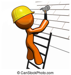 Orange Man Roofer with Hammer Hard Hat and Ladder - Orange...