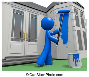 Blue Man Painting His House with Paint Roller - Blue man...