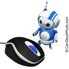 3d Cute Blue Robot with Computer Mouse