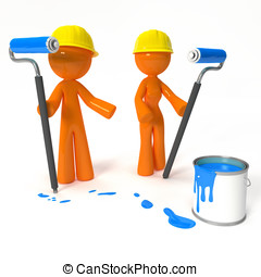 Orange Man and Woman Painters with Hard Hats - Orange man...