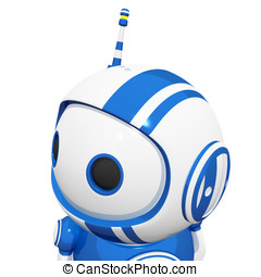 3d Cute Blue Robot with antennae looking left and observing