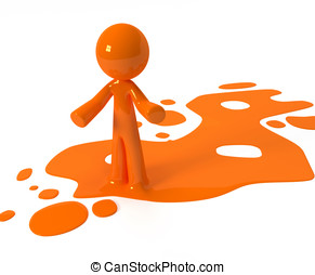 Orange Paint Person Character Emerging from Puddle - Person...