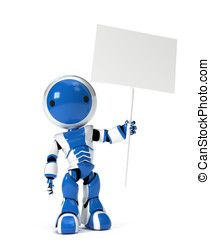 Cute Robot Holding Blank Sign