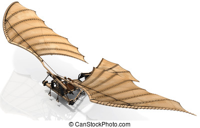 Ornithopter Flying Machine Concept by Leonardo Da Vinci -...