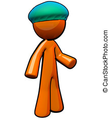 3d Orange Man with Medical Bouffant