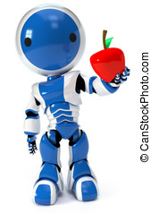 Blue circle robot holding apple