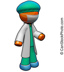3d Orange Man Doctor Ready for Surgery - An orange man...