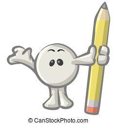 Royalty-free clipart picture of a white konkee character standing with a pencil, on a white background.