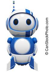 3d Cute Blue Robot standing tall ready to fly - 3d cute blue...