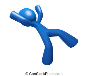 3d Blue Man Falling Down Injury Illustration - 3d Blue Man...