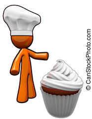 Orange Man Cook with Chef Hat Presenting Cupcake