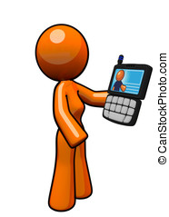 Orange Woman with Smart Phone PDA - An orange woman holding...