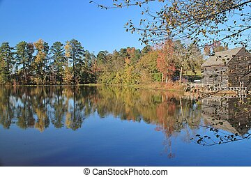 Autumn Splendor at Yates Mill - Historical Yates Mill, a...