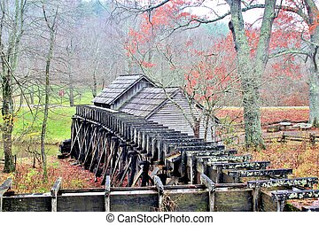 Mabry Mill - rear view - Mabry Mill, a restored gristmill on...