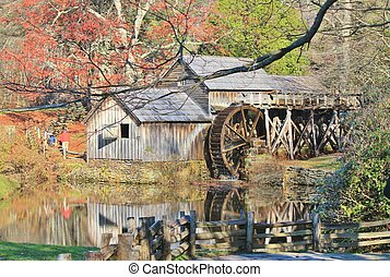 Mabry Mill Reflection -2 - Mabry Mill, a restored gristmill...