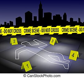Crime scene in a city - A body outline drawn on a footpath...