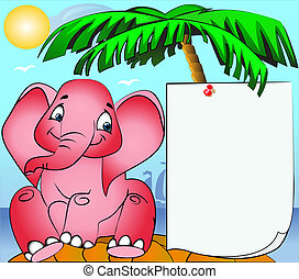rose elephant on island and paper pinning on palm -...