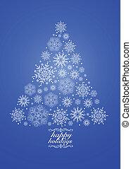 Vector Blue Holiday Snowflake Tree