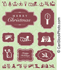 Vector Christmas Ornaments and Frame Set. Easy to edit....