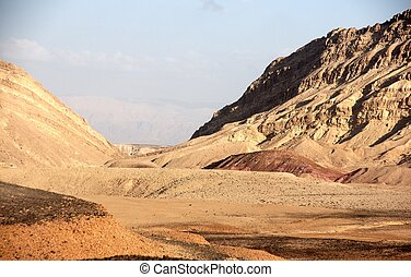Desert landscapes - Hiking in Negev desert of Israel -...