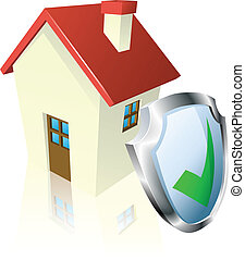 Secure house concept - House with shield and green tick...