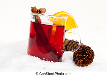 red tea in the snow