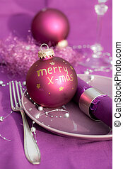 christmas place setting - purple christmas place setting