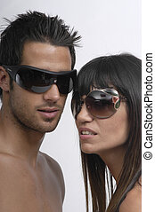 young couple with sunglasses