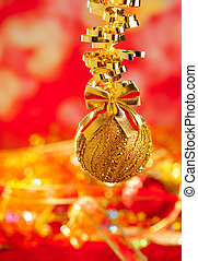 Christmas tinsel golden glitter bauble loop - Christmas card...