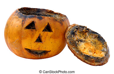 Old rotten jack-o-latern pumpkin